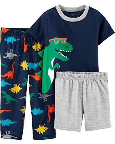 Carter's Boys' 3-Piece Polyester Jersey Pajama Sets (Navy/Dino Cool, 5T) ()