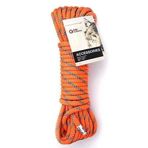GM CLIMBING 5400lbf 10mm (3/8in) Double Braid Accessory Cord Rope Fluorescent for Prusik Hauling Dragging