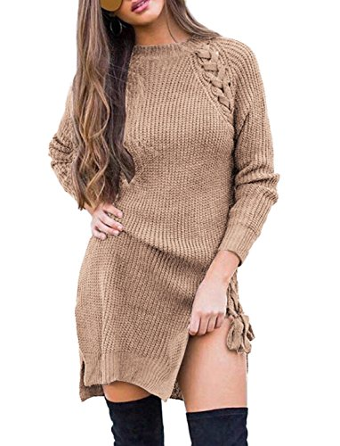 Ladies With Sleeves Split Side Simple Strappy Petite Jersey Long Sleeved Knitted Sexy Hot Dinner Club Fall Sweater Dress Tan Size 10 (Wool Dinner)