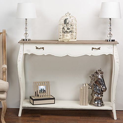 Baxton Studio Bourbonnais Wood Traditional French Console Table, White Review