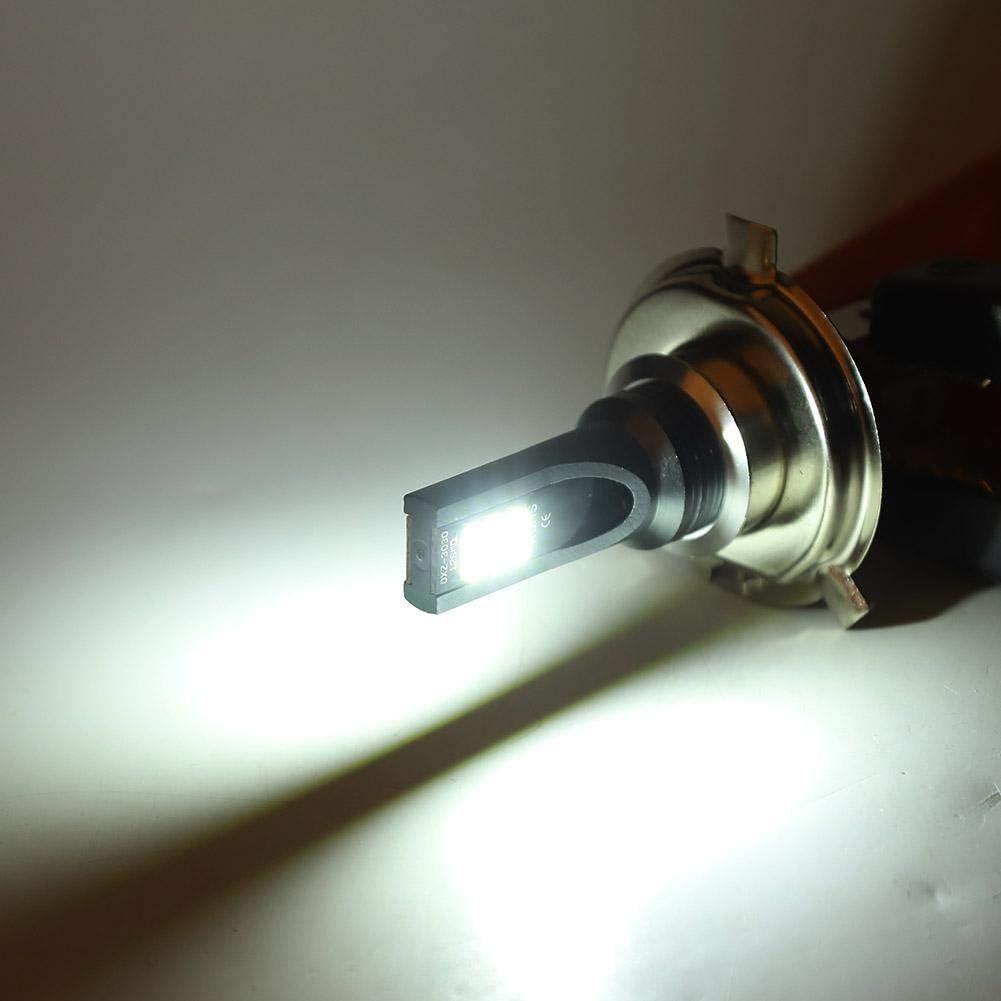 Terisass Moto Phare 12-24V 1000LM 2Pcs Moto LED Phare Avant Perles 24W 6500-7500K Phare Brouillard De Voiture Blanc Lumi/ère Pour Remplacement H4