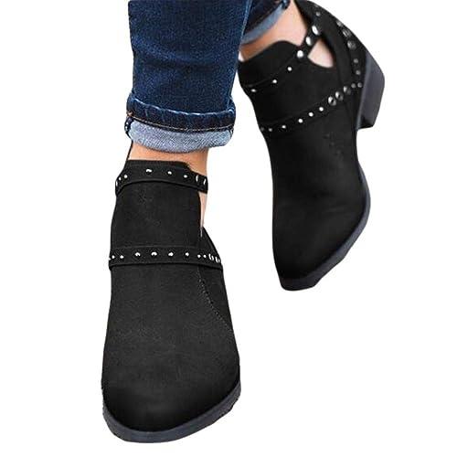 3ab09fdcee6fbe Bottine Femmes Plates Bottes Ville Femme Cuir Cheville Basse Boots Talon  Carré Chelsea Chic Compensé Grande
