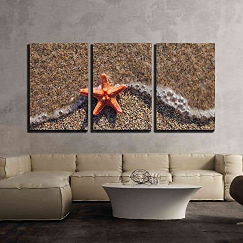 Wall26   3 Piece Canvas Wall Art   Summer Vacations   Starfish In Water Waves On Sea Sand Beach   Modern Home Decor Stretched And Framed Ready To Hang   24 X36 X3 Panels