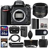 Nikon D750 Digital SLR Camera Body 50mm f/1.4G AF-S Lens + 64GB Card + Case + Battery & Charger + Grip + 3 Filters + Kit