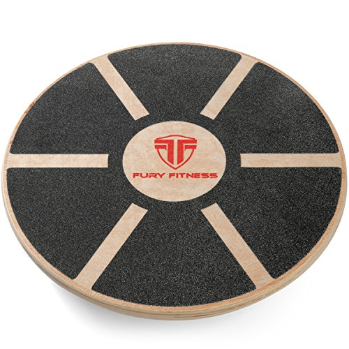 buy Fury Fitness Wooden Balance Board - Round - Made of Wood - Perfect for Surf Training - Balancing - Rehab - Home Use Wobble Trainer for sale