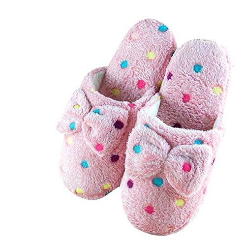 Butterme Winter Wärme Damen Plüsch Hausschuhe Mädchen Bunte Tupfen Bogen Knoten Innenboden Anti-Rutsch Weicher Pantoffeln Slipper,EU 40-41 Hell-Pink
