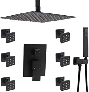 Upgrade Matte Black Rainfall Shower Faucet Set, Enga 12inch Ceiling Mount Shower Head System with Body Sprays, Luxury Bathroom Concealed Shower Fixtures