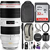 Canon EF 70-200mm f/2.8L IS II USM Telephoto Zoom Lens w/ Essential Photo Bundle - Includes: Altura Photo Backpack, Monopod, UV Protector, SanDisk 32GB C10 SD Card, Camera Cleaning Set