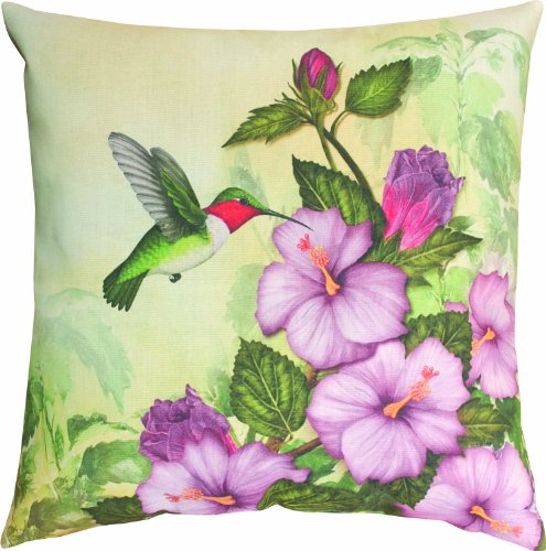 Manual Climaweave Indoor/Outdoor Square Decorative Throw Pillow, 18-Inch, Happy Hummingbird