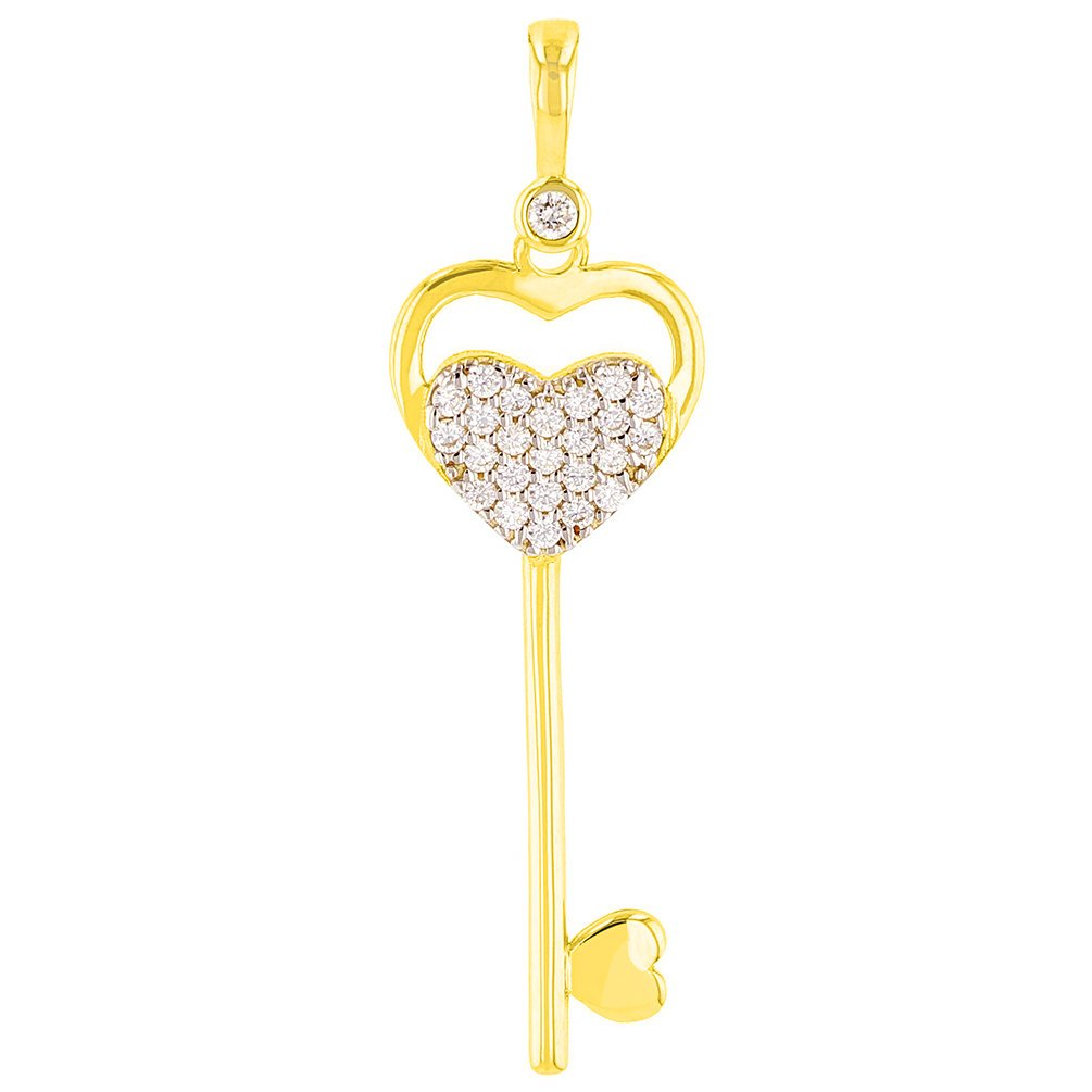 14K Yellow Gold Double CZ Heart Love Key Pendant with Figaro Necklace