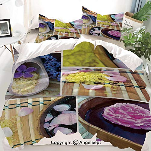 Spa Decor Duvet Cover Set King Size,Spa Organic Cosmetics Theme Wooden Bowl Petals Lavender Candle Pebbles Therapy Oil,Decorative 3 Piece Bedding Set with 2 Pillow Shams