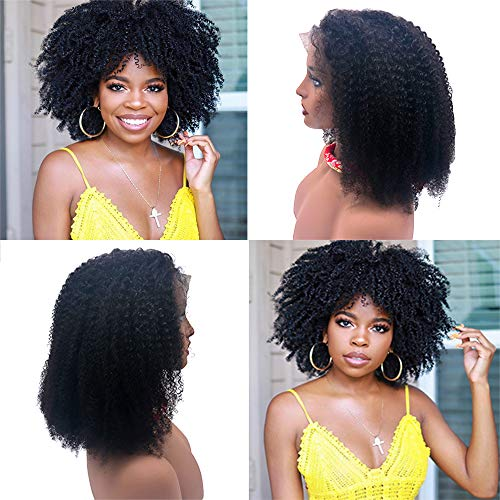 12 inch Mongolian Afro Kinky Curly Human Hair 13×4 Lace Frontal Wig 150% Density With Baby Hair Mongolian Short Human Hair Wigs Natural Line For Black Woman (12inch, natural)