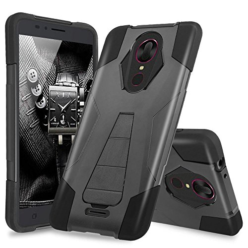 T-Mobile Revvl Plus Case, TJS Dual Layer Hybrid Shock Absorbing Impact Resist Rugged Protection Case Cover Kickstand Silicone Inner Layer for T-Mobile Revvl Plus (Not for Alcatel Revvl) (Black)