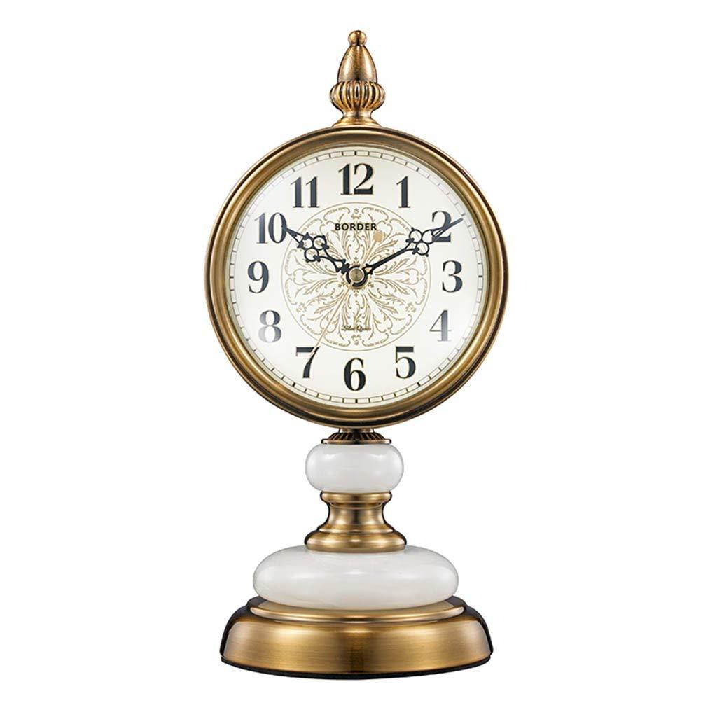 デスククロックファミリークロックヨーロッパのレトロな置時計リビングルーム/オフィス/寝室用サイレントノンティックメテルリビングルームの寝室用オフィス B07TFCSD5Z