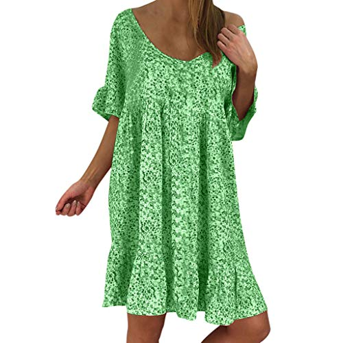 OrchidAmor Women's Ladies Sexy Loose Print Hlaf Sleeve Ruffles Mini Dress Summer Dress Green