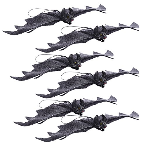 OULII Rubber Bats Halloween Tricky Props Horror Vampire Bat Hanging Decorations 6PCS (Black)