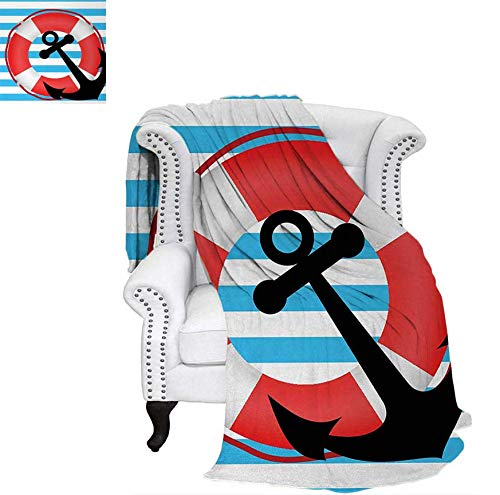 Summer Quilt Comforter Blue Striped Backdrop with Lifebuoy and Anchor Aboard Travel Protection Digital Printing Blanket 80