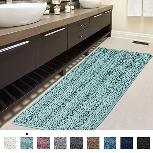 (H.VERSAILTEX Bath Rug Runner Slip-Resistant Washable Striped Pattern Large Chenille Shaggy Bath Mat Runner Extra Soft and Absorbent Indoor Bath Mat for Bathroom, 47 inch by 17 inch - Eggshell Blue)