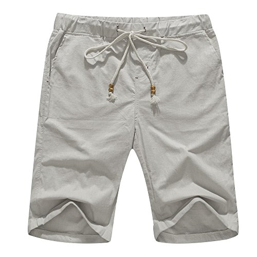 (Janmid Men's Linen Casual Classic Fit Short Light Grey L)