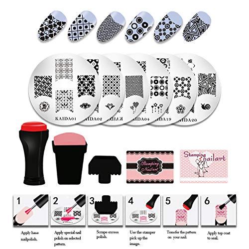 NAVSUMA 20pcs Nail Stamping Plates Diy Stamping Templates Pattern Nail Stamping Kit Nail Art Stamper 2pcs and 3pcs Scraper