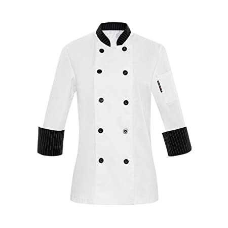 White Long Sleeve Chefs Jacket For Women Ladies Kitchen Uniforms