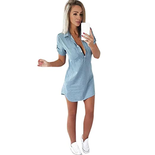 XILALU Women Collar Button Front Short Sleeve Solid Denim Dress Turn Down A-Line Casual