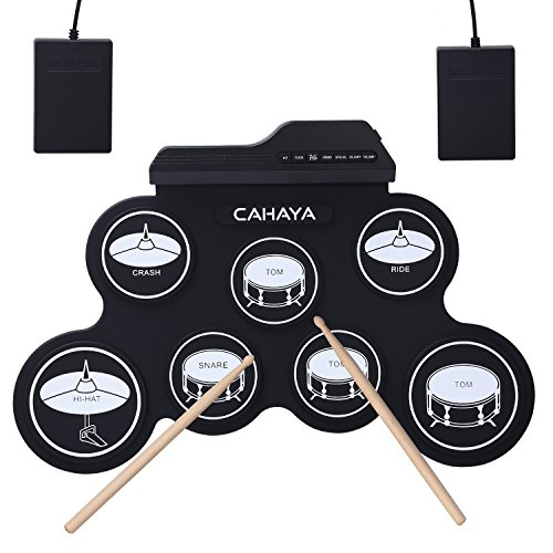 [해외] CAHAYA 전자 드럼 포터블 5종류의 드럼 음색조 메트로놈 기능 외부 음원 입력 가능 페달 스틱 부착 연습용 드럼 악기 장난감 초심자 입문용