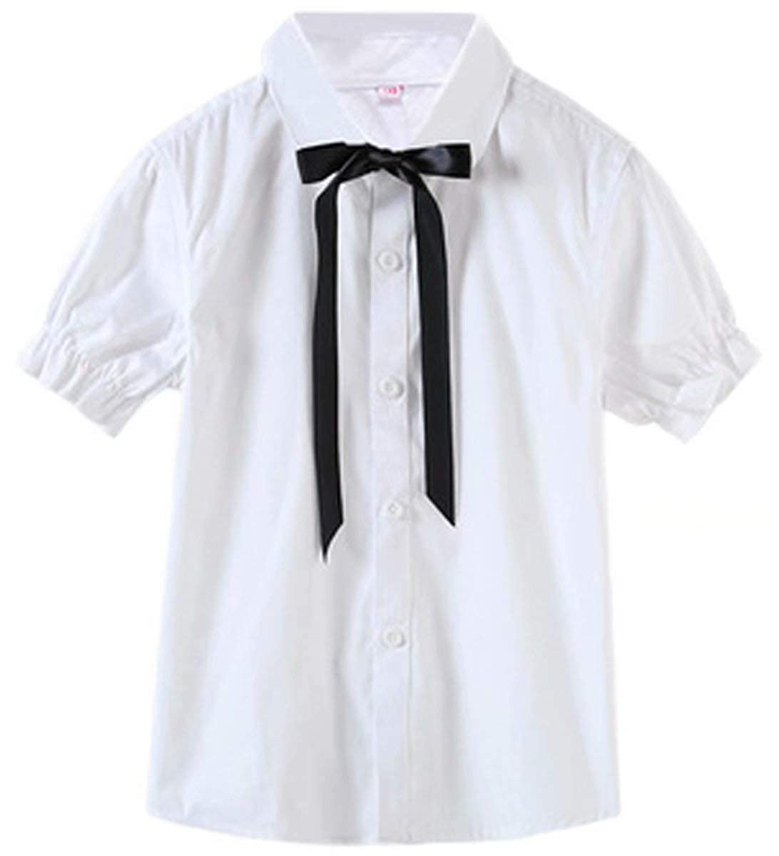 ARTMINE Girls Outfit Shirt with Bowtie /& Pleated Skirt