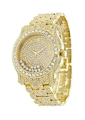 Gold Tone Floating Crystal Watch - 2