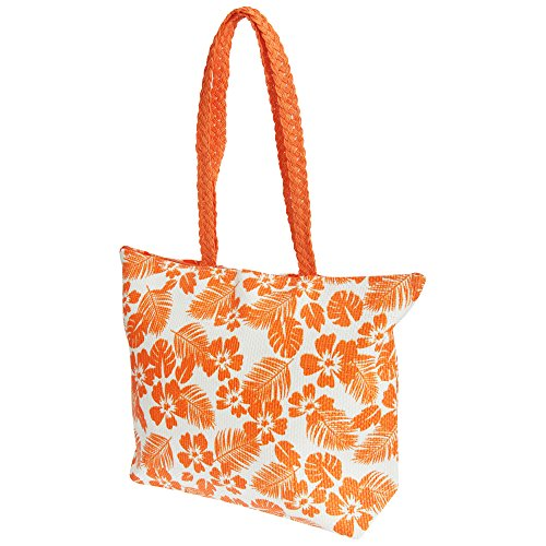 Coral Pattern White Floral Summer Leaf FLOSO® Woven Ladies Straw Womens Handbag wx7ISvA