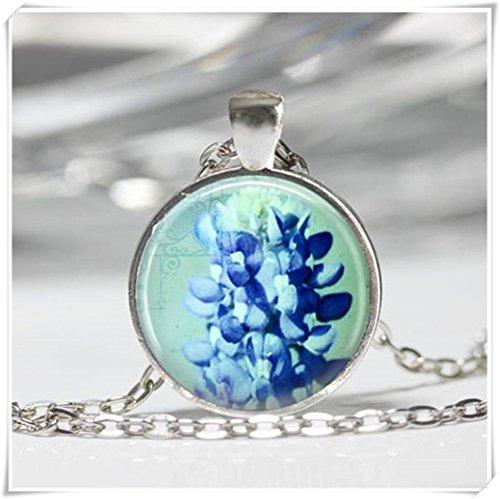 Bluebonnet Necklace, Flower Jewelry, Blue Wildflowers Nature Art Pendant ,Dome Glass Ornaments, Pure Handmade (Flower Glass Ornament)