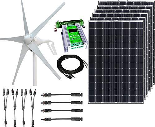 1000W 24V Hybrid Wind Solar Power DIY Off-Grid Kit – 400W Wind Turbine 6x100W 12V Mono Solar Panels 50A Hybrid MPPT Controller Solar Panel MC4 Cabling