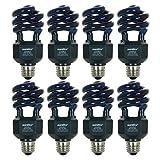 Sunlite 20W Spiral Energy Saving CFL Light Bulb Medium Base Blacklight Blue (8 Pack)
