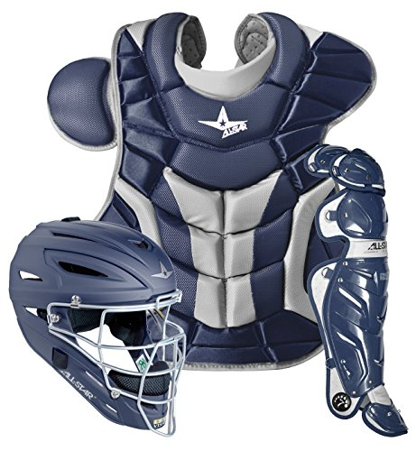 AllStar System 7 Adult Pro Catcher's Set, Navy (Professional Hockey Style Catchers Helmet)