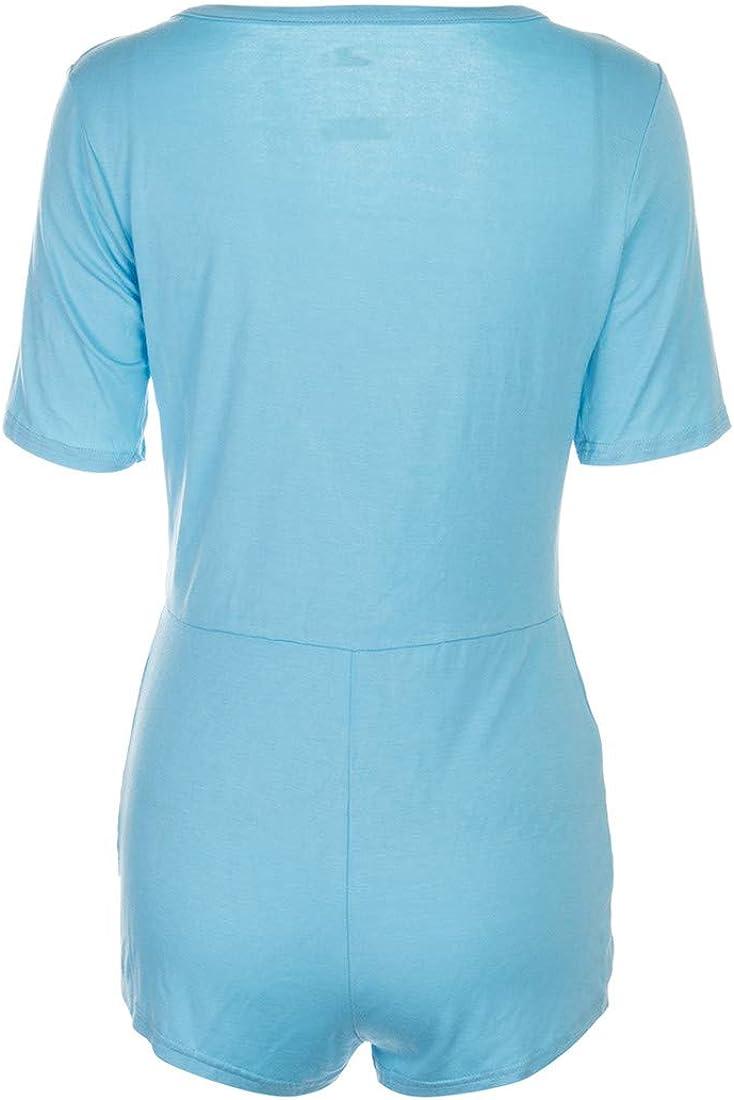 N//Z Femmes Col V Shorts Barboteuses Manches Courtes Une Pi/èce Courte Bodycon Combinaison Pyjama Couleur unie