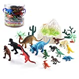 Jurassic Dinosaur Figures Educational Toys World 19 PCS Realistic Figure & Playset T-Rex, Triceratops, Velociraptor and More Lifelike Dino Collection, Gift Set for Kids, Dinosaur Family Party Favors