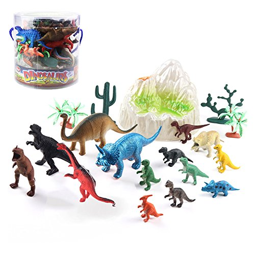 Jurassic Dinosaur Figures Educational Toys World 19 PCS Realistic Figure & Playset T-Rex, Triceratops, Velociraptor and More Lifelike Dino Collection, Gift Set for Kids, Dinosaur Family Party Favors by Yomiie