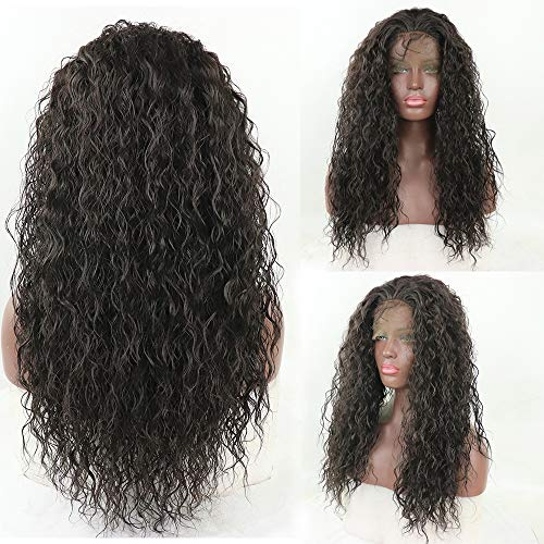 Long Loose Curly Lace Front Wig Dark Brown Hair Heat Resistant Fibers Loose Curl Synthetic Lace Front Wigs Glueless Half Hand Tied For All Women 24inch (Dark Brown) ()