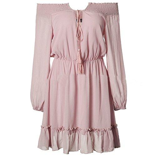 Bonboho Femmes Manches Longues Au Large Robe Épaule Mini Robe Robe De Soirée Rose