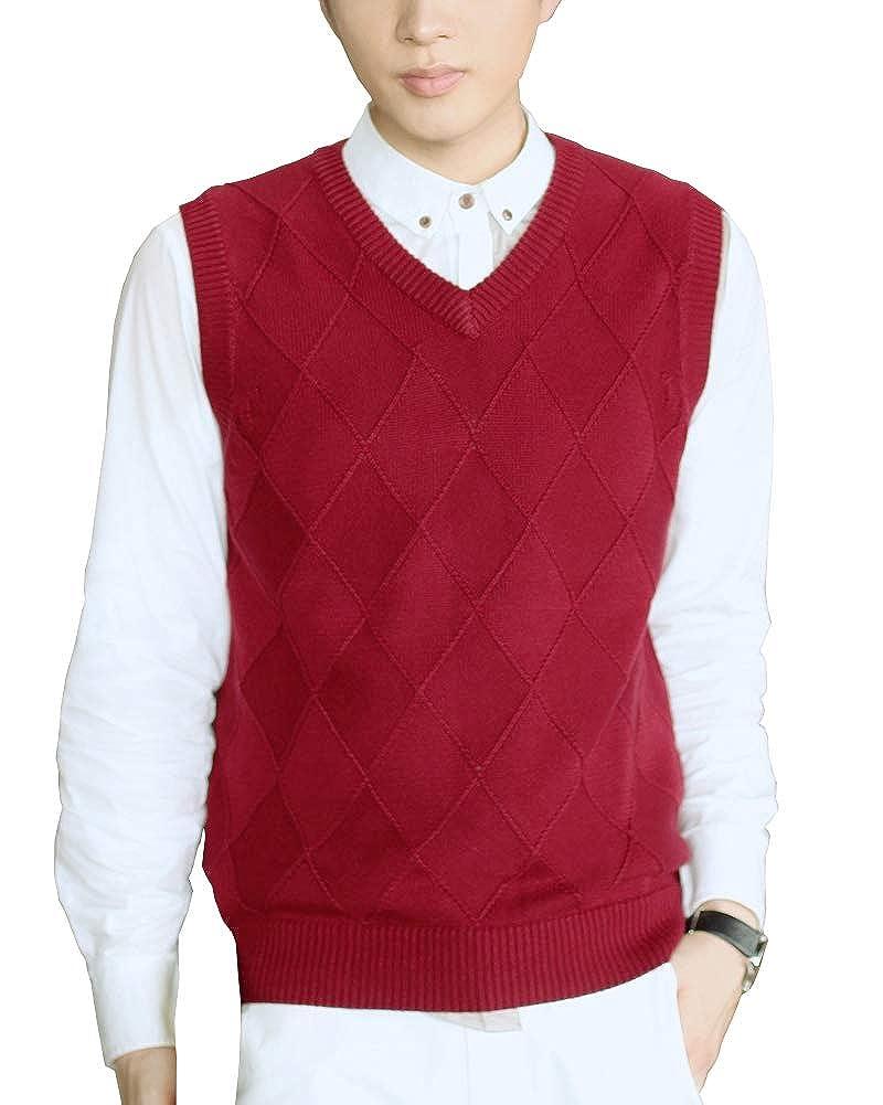 Sleeveless Jumper Mens V-Neck Lingge Gilet Vest Knitwear Knitted Waistcoat Sweater Tank Tops Shengwan