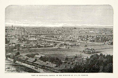 1881 Print Mandalay Kingdom Ava Burma Myanmar Cityscape Capital Asia Historic - Relief Line-block Print 1881 Poster Print