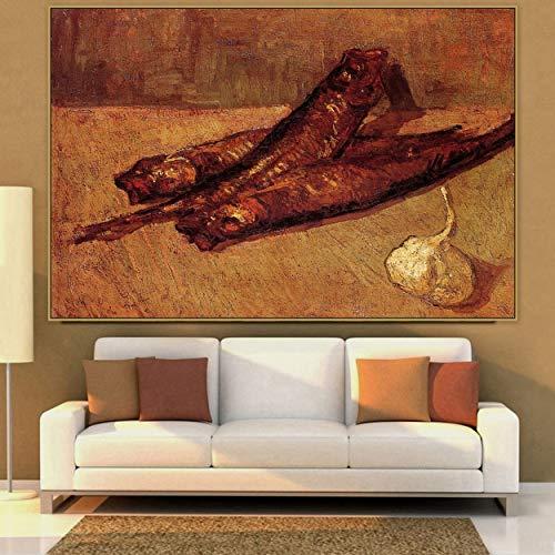 Tpqoaa Cuadro sobre Lienzo Viejo artista maestro famoso Bodegon con arenques y ajo 50x75cm De la pared La impresion de la imagen en la lona Fotos de la Obra para la