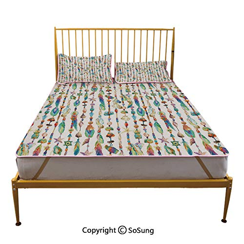 Feather Creative King Size Summer Cool Mat,Watercolor Style Figures with Sea Shells Nautical Boho Style Chains Pendant Pattern Sleeping & Play Cool Mat,Multicolor