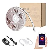 Vanseng 6ft LED Flexible Light Strip, WiFi Wireless Smart Phone Controlled 2M 60 Units SMD 5050 LEDs Waterproof IP65 LED Rope Light Strip Kit, DC 12V Power Supply, Working with Alexa