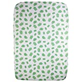 """Organic Cotton Portable Playard Fitted Crib Sheet, 27"""" x 39"""" x 5"""" to Fit Pack 'n Play for Babies & Toddlers, Turtle Print (Green)"""
