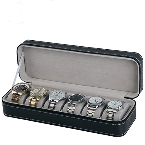 Homeater 6 Slot Watch Box Portable Travel Zipper Case Collector Storage Jewelry Storage - Case Collectors Cufflinks