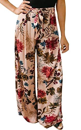 - ECOWISH Women's Casual Floral Print Belted Summer Beach High Waist Wide Leg Pants with Pockets Pink Small