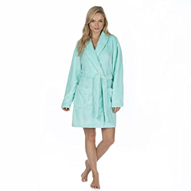 Ladies Flannel Fleece Dressing Gown (Sizes S-XL) Shawl Collar Soft Bath Robe 806432238