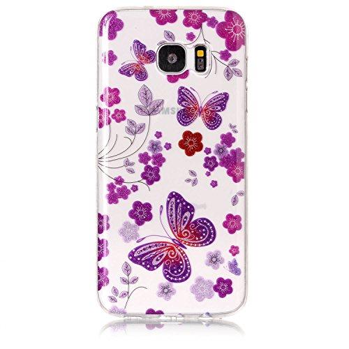 Funda Samsung Galaxy S7 edge,SainCat Moda Alta Calidad suave de TPU Silicona Suave Funda Carcasa Caso Parachoques Diseño pintado Patrón para CarcasasTPU Silicona Flexible Candy Colors Ultra Delgado Li Mariposa del azafrán