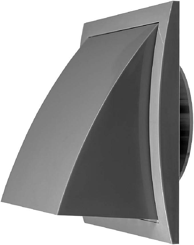 Ventana de ventilación de 125 mm de diámetro, color gris, con válvula antirretorno, de plástico, 190 x 190 mm, con conector de 125 mm de diámetro: Amazon.es: Bricolaje y herramientas
